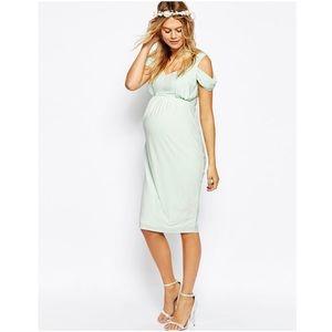 Asos Maternity Drape Cold Shoulder Pencil Dress
